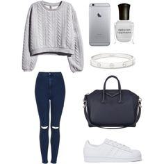 A fashion look from August 2015 featuring H&M sweatshirts, Topshop jeans and adidas Originals sneakers. Browse and shop related looks.