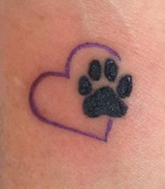 Dog paw with colored heart