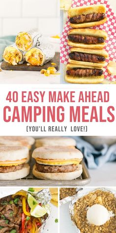 These 40 make ahead camping meals are so easy and simple to make!! They're delicious, they make your camping trips SO much easier, and are even great for meals at home!! #easy #camping… Camping Recipes Lunch, Camping Meal Planning, Camping Food Make Ahead, Camping Lunches, Camping Menu, Camping Desserts, Tent Camping, Healthy Camping Snacks, Camping Cooking