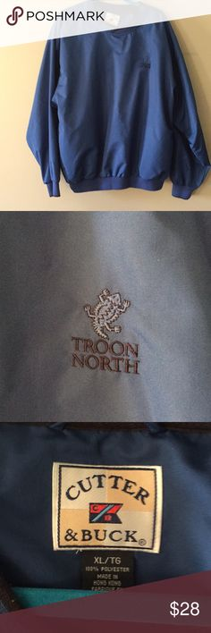 Cutter & Buck Men's Golf Jacket XL Blue pullover crew neck lightweight golf jacket. Navy blue stitched emblem. XL Cutter & Buck Jackets & Coats Lightweight & Shirt Jackets