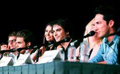 "Zach Roerig, Paul Wesley, Nina Dobrev, Ian Somerhalder, producer Julie Plec, and Michael Trevino at ""The Vampire Diaries panel"