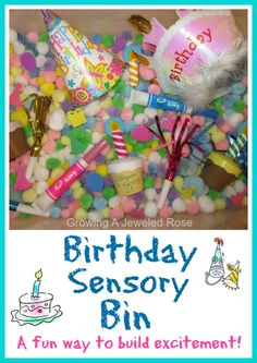 A birthday sensory bin is a great way to build excitement, especially for young children.  Include a candle and let little ones practice blowing it out! (with help of course) Great for parties too!