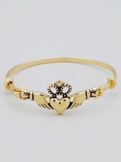 Claddagh Gold Bangle Bracelet                                                                                                                                                     Plus
