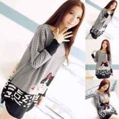 cute cat round neck casual loose top long sleeve sweater