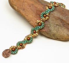 SUPERDUO DAISY CHAIN Bracelet-Turquoise Picasso-Beige Picasso-Copper Czech Glass Bead-Southwest-Flower Bracelet-Spiral Bracelet-(SD69) by CinfulBeadCreations on Etsy