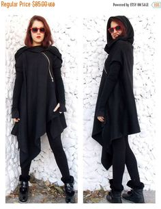 SALE OFF Asymmetric Extravagant Black Coat, Black Extravagant Coat, Loose Black Hooded Jacket, Black Hoodie by Teyxo Punk Jackets, Fall Jackets, Capes For Women, Clothes For Women, Steampunk Coat, Gothic Coat, Asymmetrical Coat, Unisex, Black Hoodie