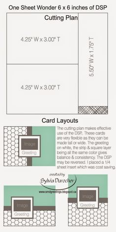 I did research a while ago for One Sheet Wonder plans.  For me I had hoped to find the cutting plan and the card layouts to go with it. ...