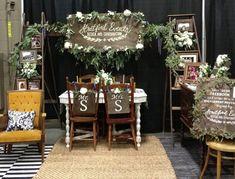 FurbishAustin  Bridal show booth for Stratford Events featuring vintage rentals by www.furbishaustin.com