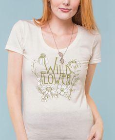 New! Scoop Neck Wild Flower T-Shirt