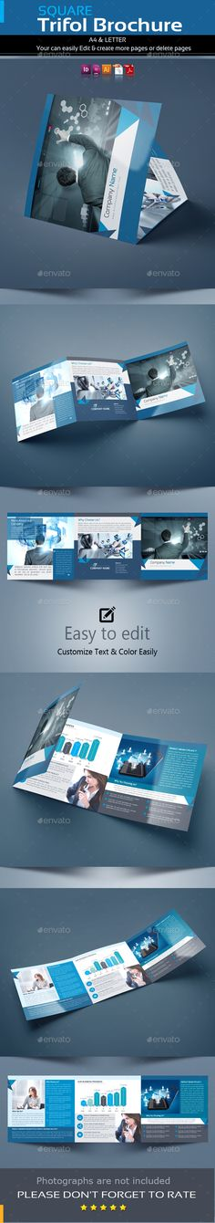 Square Trifold Brochure Template Vector EPS, InDesign INDD, AI Illustrator