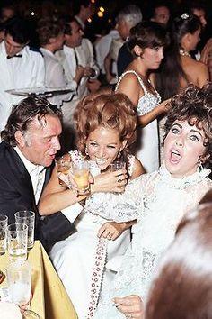 Richard Burton, Claudia Cardinale and Elizabeth Taylor indulge in a drinking game #vintageglamour #johnnywas