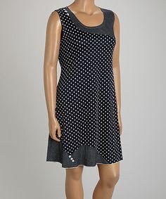 Look what I found on #zulily! Black & White Polka Dot Mélange Sleeveless Dress - Plus by Tango Mango #zulilyfinds