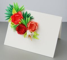 Roses Origami Greeting Cards Set of 5 by Lusine on Etsy Mothers Day Wreath, Valentine Day Wreaths, Mothers Day Cards, Easter Wreaths, Tropical Tile, Tropical Leaves, Red And Pink Roses, Rose Arrangements, Sugar Flowers