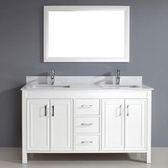 "Corniche 60"" White Double Sink Vanity By Studio Bathe - costco"