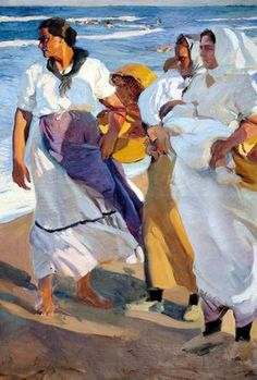 Art from Spain - Joaquín Sorolla y Bastida, Valencia 1863 – 1923, was a Spanish painter, excelled in the painting of portraits, landscapes, and monumental works of social and historical themes. His most typical works are characterized by a dexterous representation of the people and landscape under the sunlight of his native land. - Pescadoras valencianas (1915, Museo Sorolla, Madrid)