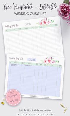 Free Editable-Printable Wedding Guest List