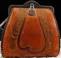 Antique Art Nouveau Deco TURNLOC Leather Purse Wrist Strap Meeker Made #Meeker #Clutch #Everyday