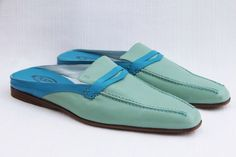 TOD'S Women's Sabot Cuoio Donna Mint/Aqua Backless Loafers Shoes US 10 / 40 NEW #Tods #LoafersMoccasins