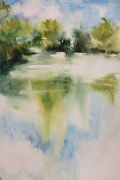 Aquarelle 31x45cm Paix sur l'étang