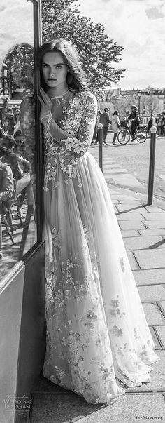 liz martinez 2018 bridal long sleeves illusion high neck plunging v neck heavily embellished bodice romantic soft a line wedding dress long train (2) lv -- Liz Martinez 2018 Wedding Dresses