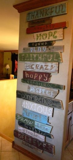 This is what i should do for the wall on the main deck. Wall of words, This is a project I made using a bunch of old wood an pallet wood i had. I cut sanded and then painted it in shades that match my decor. I used the Cricket machine to help with the letters and fonts....then distressed it using sandpaper, Wall of words, Home Decor Project - Click image to find more Design Pinterest pins