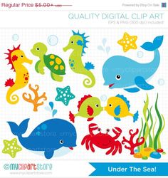 ON SALE - Under the Sea Clip Art / Digital Clipart - Instant Download on Etsy, $3.00