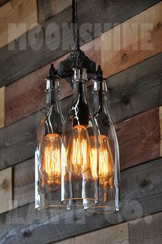 Recycled Bottle Chandelier The Marquis Clear 3 Light Hanging Pendant Customizable Finish Vintage Style Edison Bulbs Rustic Lighting - Kronleuchter Vintage Industrial Lighting, Rustic Lighting, Rustic Industrial, Industrial Wallpaper, Industrial Stairs, Industrial Closet, Industrial Windows, Industrial Bathroom, Industrial Living