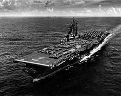 USS Shangri-La underway, with crew on parade.8/17/46. My Dad served on the Shangri-La in WW2 as a gunner.
