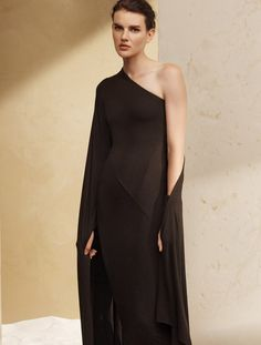 - Description - Details - Customer Care Channel worldly elegance in this one-shoulder dress. This timeless piece evokes true confidence, flattering your best features with Donna Karan's signature drap