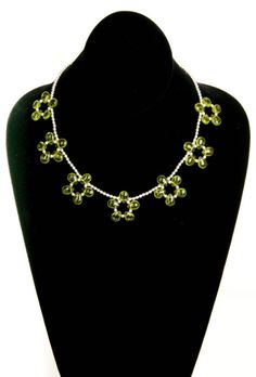 Peridot Colored Glass Flower Necklace by floweravenue on Etsy, $15.00 Peridot Color, Flower Necklace, Colored Glass, Necklaces, Chain, Beads, Flowers, Silver, Etsy