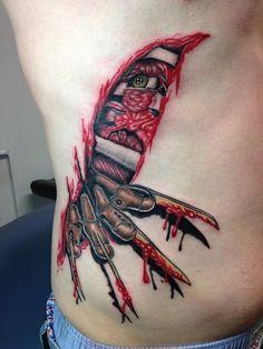 Wonderful Tattoos On Ribs Forarm Tattoos, 3d Tattoos, Love Tattoos, Picture Tattoos, Body Art Tattoos, Ripped Skin Tattoo, Horror Movie Tattoos, Piercing Tattoo, Piercings