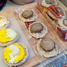Breakfast freezer english muffin sandwiches