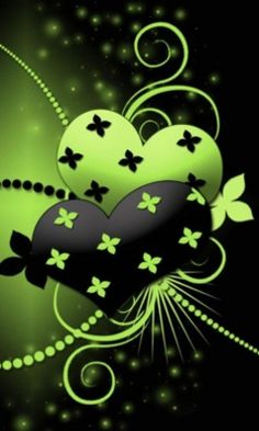 Hearts in green and black