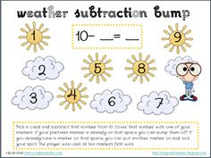 First Grade Found Me: New Weather-themed + and - BUMP games (freebies)