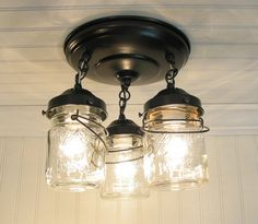 Vintage Mason PINT Jar CEILING LIGHT Trio by LampGoods on Etsy, $139.00