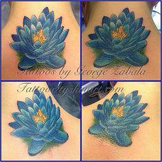 blue lotus flower neck tattoo by George Zabala. Tattoo City, Lockport, IL #tattoo #artist #lockport