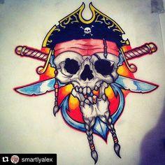 From  @smartlyalex #skull #pirate #tattoo #tattooart #tattooartist #drawing #colorful #Regrann