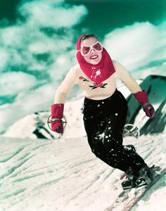 It's the Bat-Signal … 1949 ~ A woman skiing downhill in Los Angeles. |  Photograph: Camerique/Getty Images