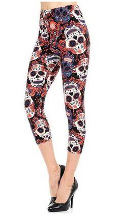 a57648f30d824 ONE Size CAPRI BLACK RED SUGAR SKULL Leggings BUTTERY SOFT Size 2-12 NWT #