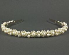 Pearl Wedding Headband | Bridal Tiara Headband | Pearl Bridal Headband |  Pearl Bridal Hairpiece | Wedding Tiara | Pearl Wedding Hairband