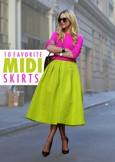 10 Midi Skirts that are perfect for Spring! The cover shot with a hot pink sweater, lime neon green midi skirt and cheetah print shoes and handbag as accents are sure to gain attention! Hot Pink Skirt, Pink Midi Skirt, Midi Skirts, Long Skirts, Long Dresses, Green Fashion, Colorful Fashion, Modest Fashion, Fashion Outfits