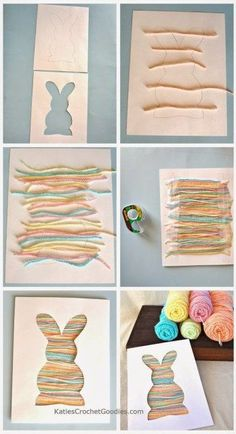 Easy Easter Craft for Toddlers: Bunny Silhouette Yarn Craft - Katie's Crochet Goodies