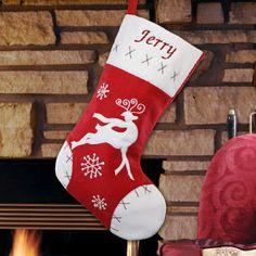 Embroidered Red Velvet Reindeer Christmas Stocking