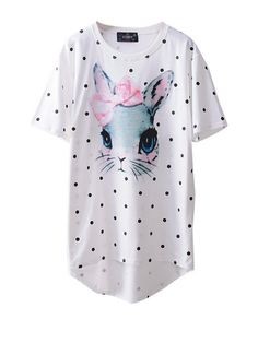 cute rabbit print t-shirt! https://www.nopants-elinor.com