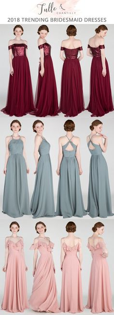 bridesmaid dresses for 2018 trends Burgundy Bridesmaid Dresses, Bridesmaid Outfit, Event Dresses, Prom Dresses, Wedding Bride, Wedding Gowns, Wedding Ideas, Bridal Pictures, Bridal Pics
