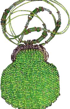 Knitted Bead Purse Lime Green with Gold Frame #beadedpurses #vintagepurse #handmadebag
