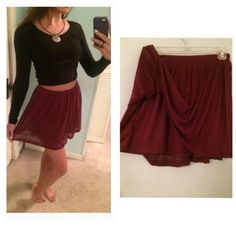 Maroon LA Hearts Skirt This skirt can be worn as high waisted or at the hips. Has an elastic waistband. Very flowy and comfortable! Has a sheer ribbed outer layer and a silky under layer. Size XS. Never worn! Perfect condition! :) LA Hearts Skirts Circle & Skater