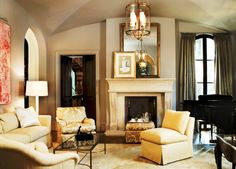 Beautiful living space with groin vaulted ceiling.  Interiors by Robert Brown.