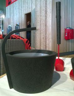 Sawo Dragonfire sauna accessories designed by finnish designer Stefan Lindfors found at Habitare, Helsinki