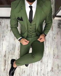 Green Men's Suit Business Style 3 Piece Suits Tuxedo-Suit-LeStyleParfait.Com